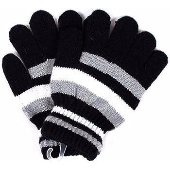 1e9b2f3d5cdb7d Nice Days(ナイス ディズ) 手袋 子供用 ニット グローブ 5本指 保温 防寒 男の子 女の子 キッズ 通学 6-12歳に適用 (ブラック)
