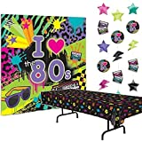 Multiple 80s Party Decorations Bundle of 3 - Plastic Tablecover, Giant Wall Scene Setter and String Decorations