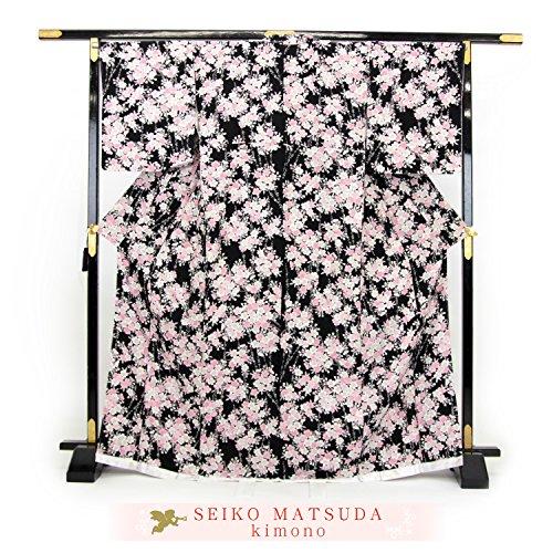 松田聖子 正絹 お仕立て上がり 小紋着物 「黒地にピンクの桜...
