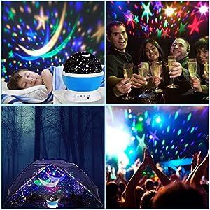 YKS スタープロジェクター プラネタリウム 多色変更可能 360°回転灯 美しい星空 電池/USB給電 雰囲気作り クリスマス/結婚式/学園祭/ガーデンパーティー/飾りスター