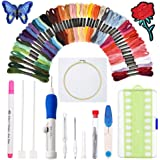 [Upgraded]Punch Needle Embroidery Kit,Magic Embroidery Pen Punch Needle Set with Cloth,50 Colors Threads&Embroidery Tools