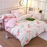 米式清新風 熱帯植物とフラミンゴ模様 掛け布団カバー シーツ 枕カバー シングル