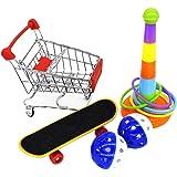 POPETPOP バードトイ インコ玩具 鳥のおもちゃ小型 ショッピングカートスケートボードリング 咀嚼玩具 知育玩具訓練玩具ストレス解消5点セット(ランダムカラー)