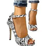 Fashare Womens Peep Toe Leopard Pumps Shoes Stilettos High Heels Ankle Strap Party Dress Shoes