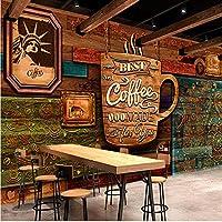 Lixiaoer 写真の壁紙3Dレトロノスタルジア暗いレンガの壁の壁紙カスタムバーカフェカジュアルバーKtv壁紙壁画-200X140Cm