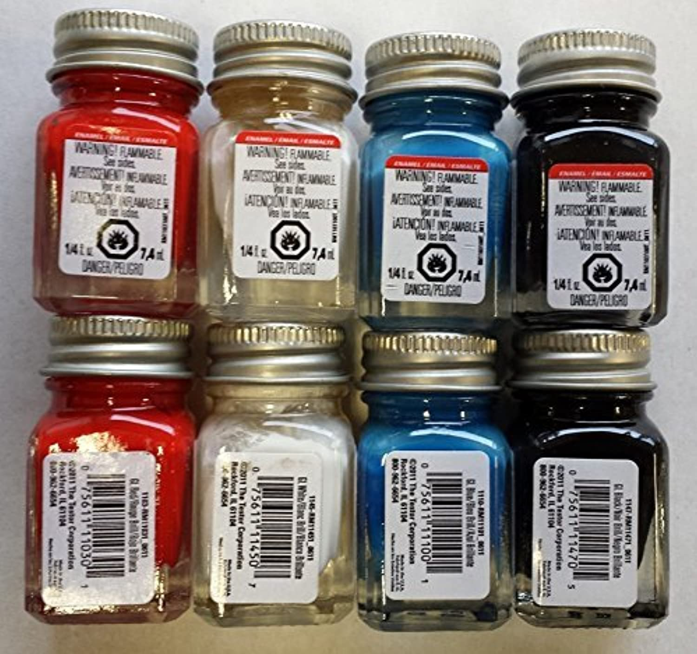 Testors Primary光沢エナメル詰め合わせ( 2 )各レッド、ホワイト、ブルー、ブラック1 / 4 oz Jars