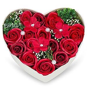 バラ型ソープフラワー ハートフラワー形状ギフトボックス 誕生日 母の日 記念日 先生の日 バレンタインデー 昇進 転居など最適としてのプレゼント (レッド)