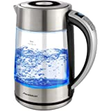 Nidouillet Electric Kettle with Variable Temperature Control, 1500W 1.7L Glass Water Kettle with LED Indicator, Boil-Dry Prot