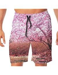 メンズ水着 ビーチショーツ ショートパンツ 桜の木 スイムショーツ サーフトランクス 速乾 水陸両用 調節可能