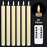 GenSwin Flameless Ivory Taper Candles Flickering with 10-Key Remote, Battery Operated Led Warm 3D Wick Light Window Candles R