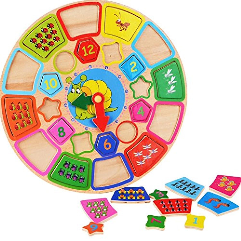 木製Shape Sorting Clockジグソーパズル教育玩具for Kids Learningクロックthrough fun & play Age 3 Years and Up