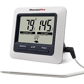 ThermoPro デジタルクッキング 料理用 オーブン温度計 キッチン調理用タイマーとアラーム機能付き LCD大画面 ステンレス製プローブ バーベキュー グリル肉 燻製作りなどの温度管理 マグネット付き TP-04