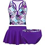QinCiao Teens Youth Big Girls 3Pcs Tankini Athletic Swimsuit Sports Tank Top with Swim Briefs Skirt Bathing uit Set