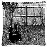 """アコースティックギター装飾枕ケースカバー標準サイズ18"""" x18""""インチ( One Side )正方形枕カバー"""