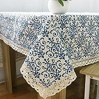 ヴィンテージ青と白の中国の古典的な綿のテーブルクロス 生地を集めている