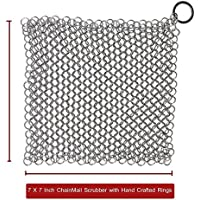 The Best手作りプレミアムCast Iron Cookware Cleaner by vmiziv – 7 x 7インチ食品グレードステンレススチールChainmail Scrubber