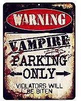 吸血鬼専用駐車場★VAMPIRE PARKING ONLY・レトロ調★当店Sサイズ★アメリカンブリキ看板