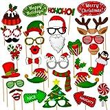 クリスマス写真ブース小道具キット (32個) DIYフォトブース小道具 ポーズサインキット 大人 子供 クリスマスパーティー用品