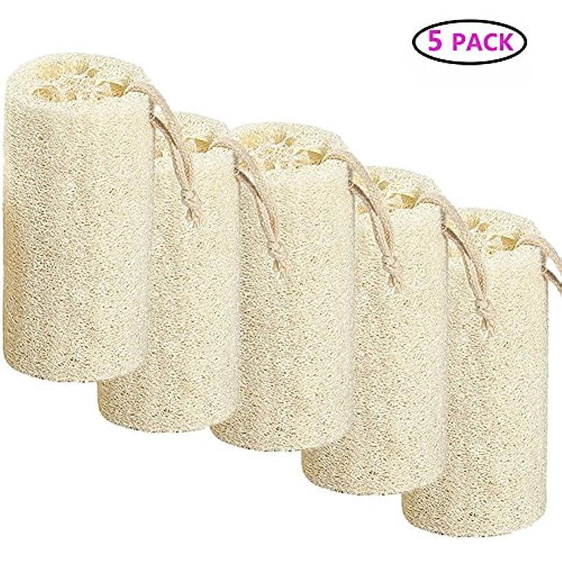 ストレンジャーパーチナシティペデスタルNatural Loofah バスボディスポンジバスルームシャワーエクスフォレイティングスクラバーブラシボディスパマッサージャー 10cm (5 pack)