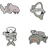 KOOBOOK 4Pcs Creative Lovely Ocean Animal Brooch Pins Whale Shark Enamel Lapel Pin Lettering Pins Schoolbag Micro Cap Top Lap