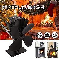 ストーブファンと循環ウォーム用4枚刃熱パワードストーブファン、SlientエコFrienly暖炉ファン、