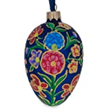 BestPysanky Colorful Flowers on Blue Glass Egg Ornament