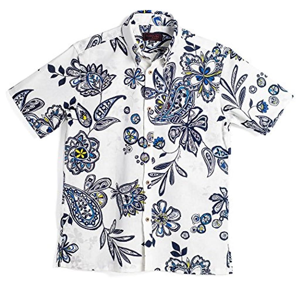 プロテスタント引っ張るミントMAJUN (マジュン) かりゆしウェア アロハシャツ かりゆし 結婚式 メンズ 半袖シャツ ボタンダウン アドベンチャーピギー ホワイト×ブルー S