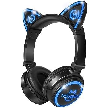 【ネコ耳ヘッドフォン】MindKoo Bluetoothヘッドフォン 密閉型ブルートゥースワイヤレスヘッドフォン 折りたたみ式 自由変換LEDライト付き 有線接続で使用可能 四色選択 日本語説明書付き(ブラック)