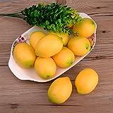 FeyarlR10個セットレモン フルーツ 本物みたいなレモン  果物 模型 装飾 食品サンプル 緑 グリーン 黄 イエロー (イエロー)