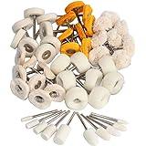 FPPO Polish Buffing Wheel Kit for Dremel,Wool Felt Mounted 3mm Mandrel for Rotary Tool Accessories,Mini Cotton Cloth Brush Po