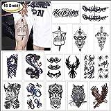 COKOHAPPY 16 枚 ブラック 一時的な タトゥー 入れ墨 刺青 ために Guys ために Man - 大い ボディー ステッカー フラッシュ タトゥー 入れ墨 刺青 腕 肩 ショルダー Make Up - トライバル Symbols Koi 魚 鷹