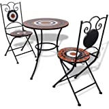 vidaXL Bistro Table 60cm Mosaic with 2 Chairs Terracotta/White Mosaic