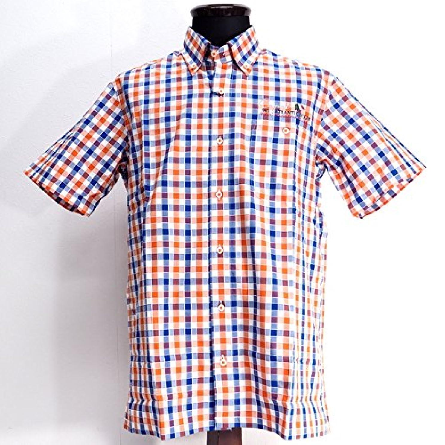 再編成する入札ふさわしい30434 春夏 チェック柄ボタンダウンシャツ 半袖 オレンジ サイズ 48(L) CAPRI カプリ 紳士服 メンズ 男性用
