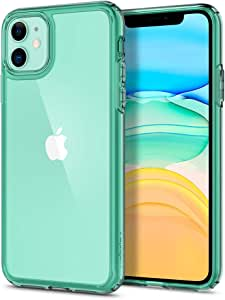 【Spigen】 iPhone 11 ケース 6.1インチ 対応 背面 クリア 米軍MIL規格取得 耐衝撃 カメラ保護 衝撃吸収 Qi充電 ワイヤレス充電 ウルトラ・ハイブリッド ACS00406 (グリーン・クリスタル)