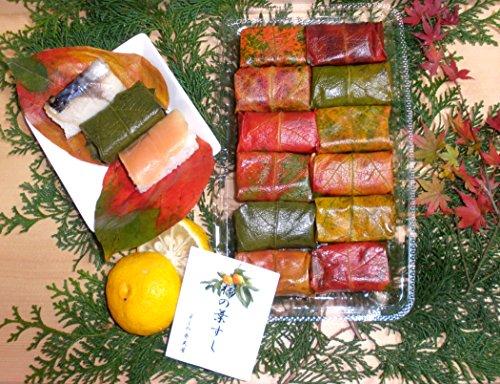 【よしの弁天屋 紅葉柿の葉すし】期間限定紅葉バージョン 12個入り(鯖6鮭6)