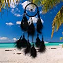 Indian Dream Catcher Circular Feather Handmade Wall Decorative Hanging Ornaments Dreamcatcher for Home Bedroom Party Car 22 inch Black