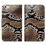 アニマル柄 手帳型 ベルト無し iPhone7 (4.7) iPhone7 (QB000102_03) 蛇柄 スネーク 模様 爬虫類 スマホケース アイフォン 各社共通