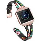 YiJYi Leather Bands Compatible with Fitbit Blaze,Slim Band with Metal Frame Sport Strap Wristband for Women Men
