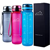 KOBONA 1-Litre Motivational Smart Water Bottle with Time Markings Hydration Tracker - Wide Mouth for Ice, Fruit Sieve for Inf