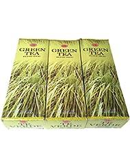 グリーンティー香スティック 3BOX(18箱) /HEM Green Tea/インセンス/インド香 お香 [並行輸入品]