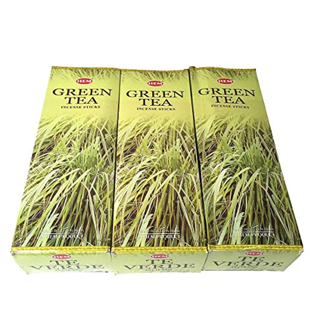 組み合わせ是正するスキーグリーンティー香スティック 3BOX(18箱) /HEM Green Tea/インセンス/インド香 お香 [並行輸入品]