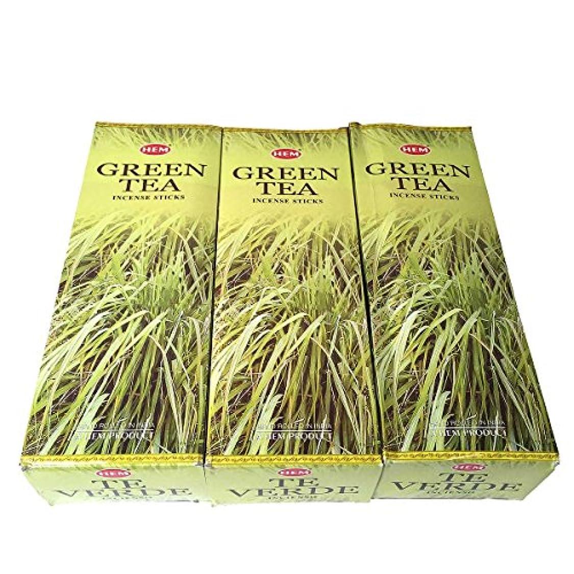 直接触覚世辞グリーンティー香スティック 3BOX(18箱) /HEM Green Tea/インセンス/インド香 お香 [並行輸入品]