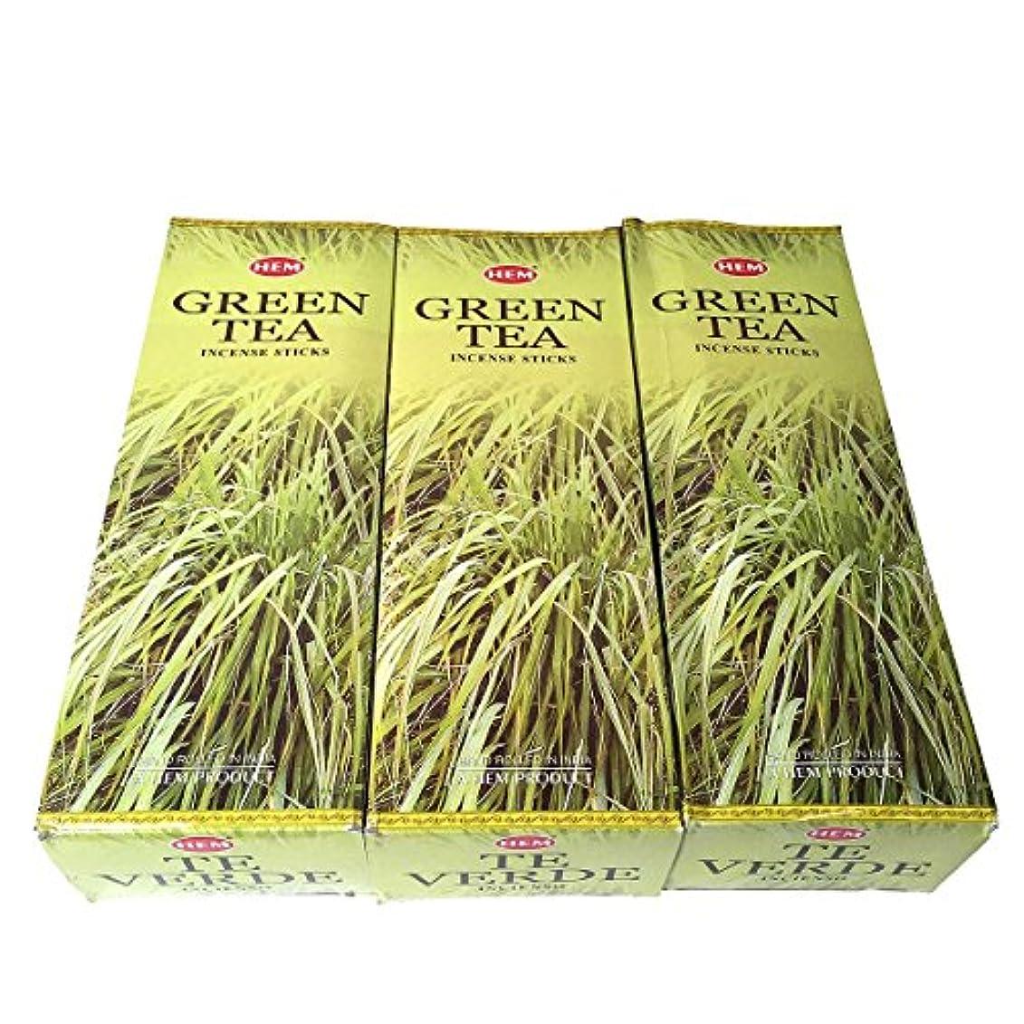 シロナガスクジラ発明角度グリーンティー香スティック 3BOX(18箱) /HEM Green Tea/インセンス/インド香 お香 [並行輸入品]