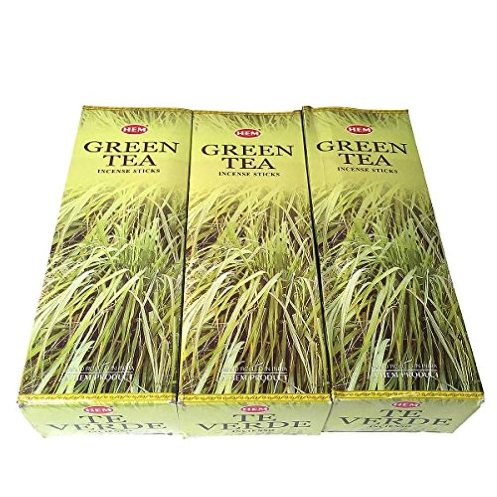 教育するボンド具体的にグリーンティー香スティック 3BOX(18箱) /HEM Green Tea/インセンス/インド香 お香 [並行輸入品]