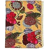 FashionShopmart Indian Cotton Kantha Quilt Bedspread Twin Size Fruit Print Kantha Stitch, 60 X 90 inches (Yellow)