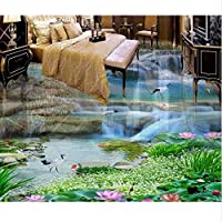 Wuyyii 3Dフローリング防水壁紙カスタム3Dフローリング滝蓮の鯉自己接着壁画壁紙3Dフロアタイル-150X120Cm