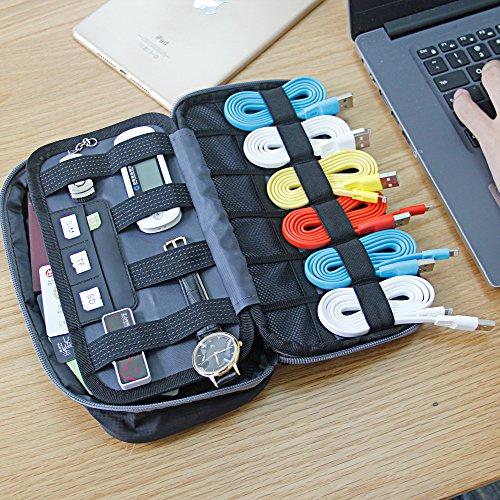 トラベルポーチ 充電器ポーチ 電子小物整理 大容量 収納ポーチ データケーブル 充電器 対応 旅行 外出 (黒)