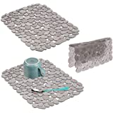 mDesign Adjustable Kitchen Sink Dish Drying Mat/Grid - Soft Plastic Sink Protector, Cushions Sinks, Dishes - Quick Draining P