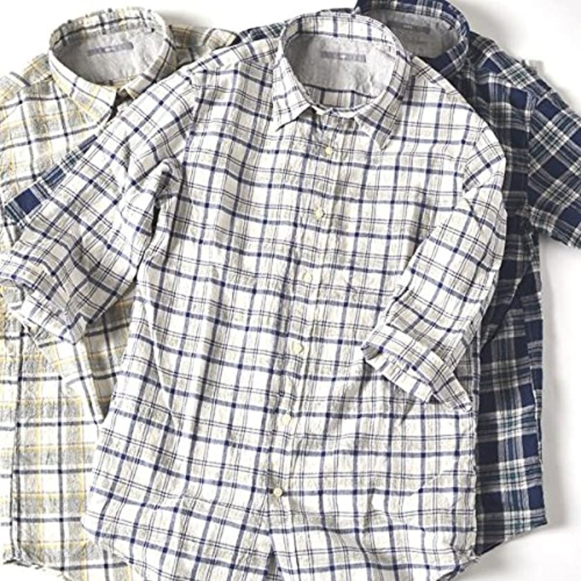 極めて旋回助言するシップス(メンズ)(SHIPS) SU: トップチェック 7スリーブシャツ【グレー/MEDIUM】