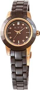[アーヴェヴェ] a.v.v シンプル おしゃれ ソーラー 充電 腕時計 AVV005PBR レディース ブラウン